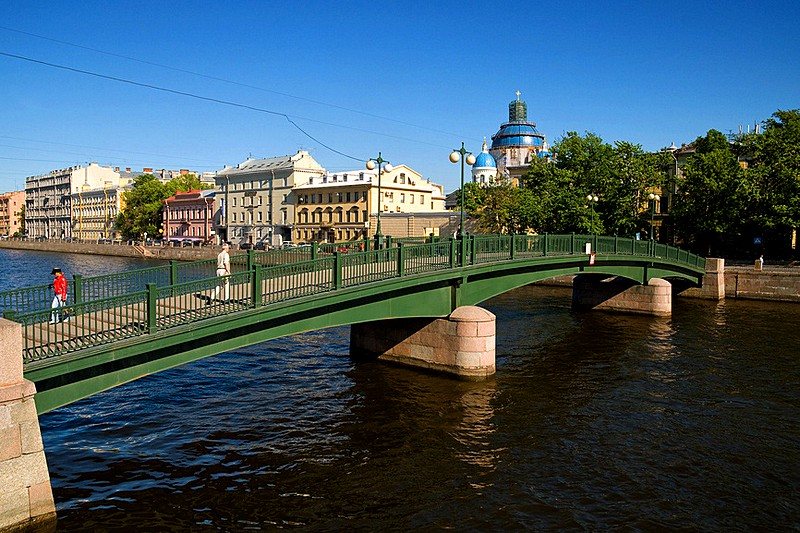 Pedestrian Krasnoarmeiskiy Bridge in St Petersburg, Russia