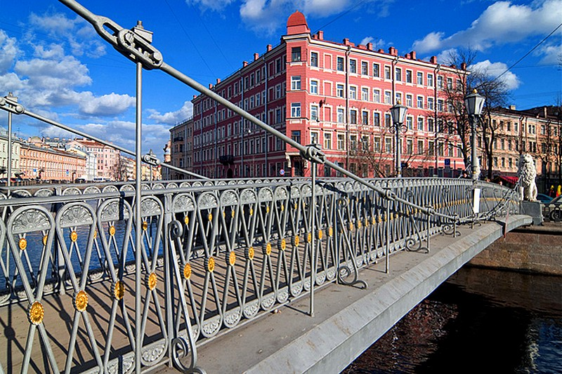 Lion (Lviny) Bridge over the Griboedov Canal in St Petersburg, Russia