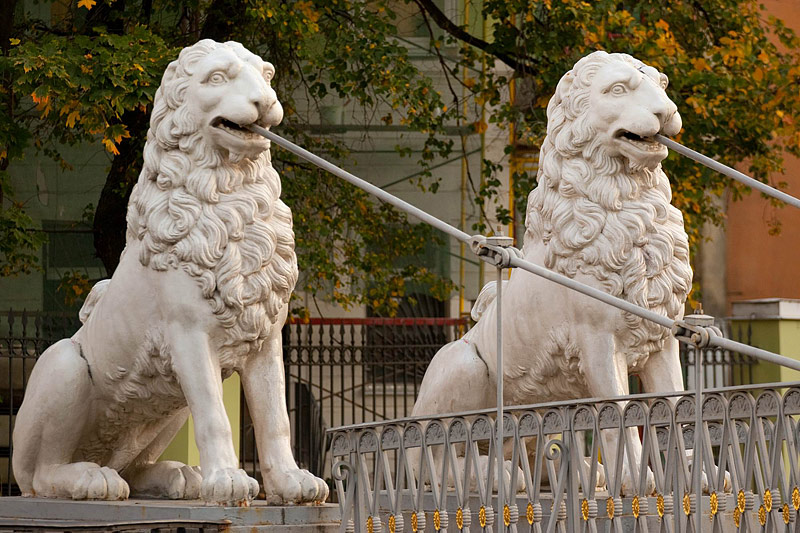 Lions on Lion (Lviny) Bridge over the Griboedov Canal in St Petersburg, Russia