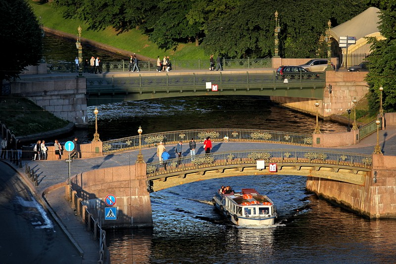 Maly Konyushenny Bridge over the Moyka River in St Petersburg, Russia