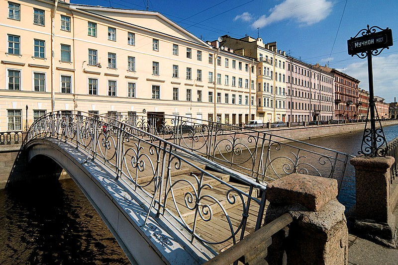 Muchnoy Bridge over the Griboedov Canal in St Petersburg, Russia