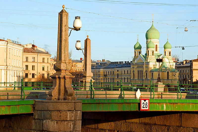 Novo-Nikolskiy Bridge over the Griboedov Canal in St Petersburg, Russia