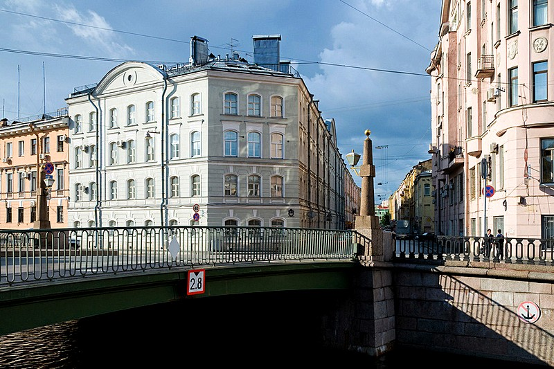 Podyacheskiy Bridge over the Griboedov Canal in St Petersburg, Russia