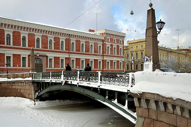 Potseluev Bridge over the Moyka River in St Petersburg, Russia
