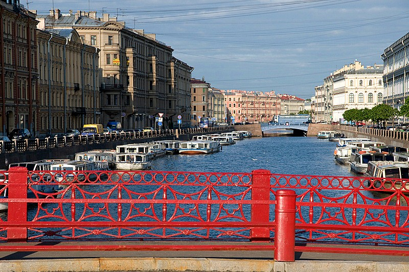 View from the Red Bridge over the Moyka River in Saint-Petersburg, Russia