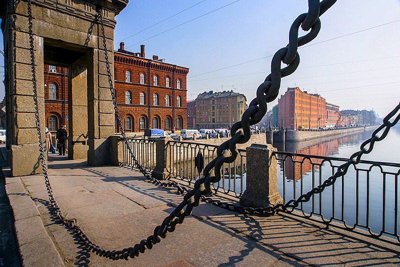 Chains of Staro-Kalinkin Bridge in St Petersburg, Russia