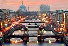 Bridges of the Fontanka River in St. Petersburg, Russia