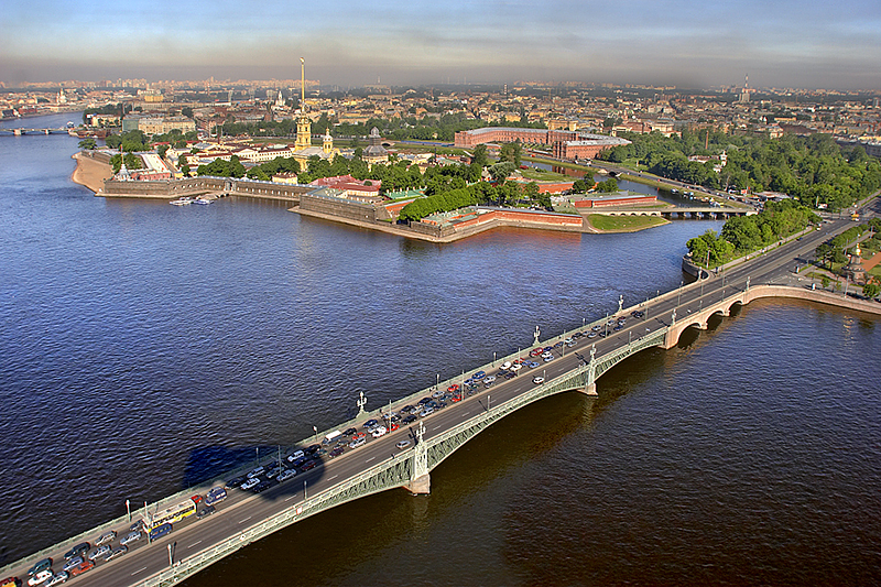 Aerial view of Trinity Bridge in St Petersburg, Russia