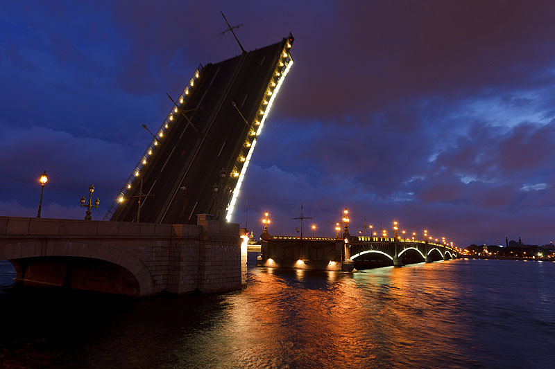 Raised 'wings' of Trinity Bridge in St Petersburg, Russia