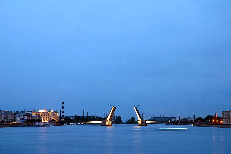 Elevated bridge span of Tuchkov Bridge in St Petersburg, Russia