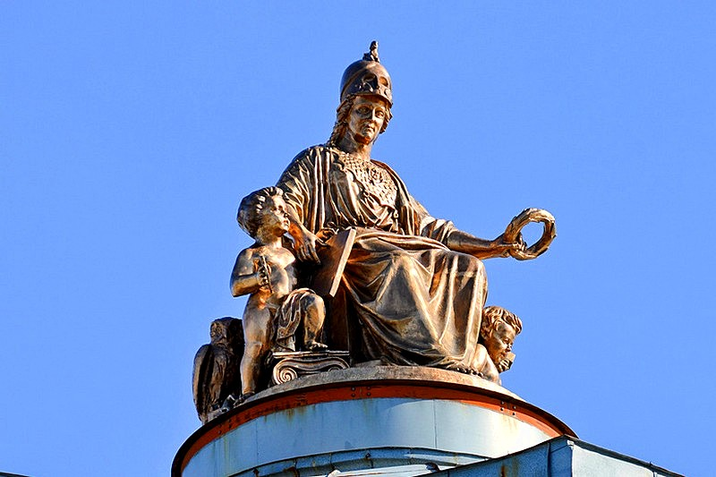Statue of Minerva on the dome of the Academy of Fine Arts in St Petersburg, Russia