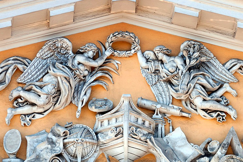 Bas-relief on a pediment of the Admiralty Building in St. Petersburg, Russia