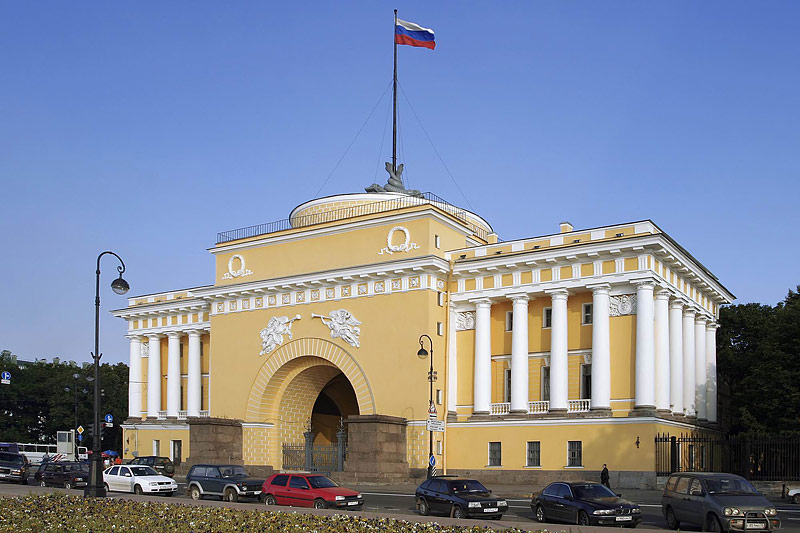 One wing of the Admiralty Building in Saint-Petersburg, Russia