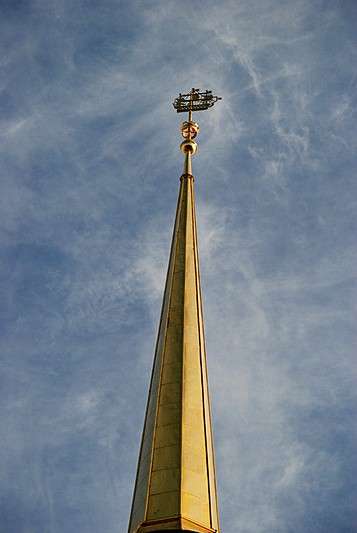 Ship weather-vane on the Admiralty spire - a prominent symbol of St. Petersburg, Russia