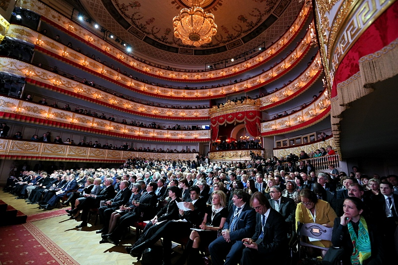 Audience of the Alexandrinsky Theatre in St Petersburg, Russia