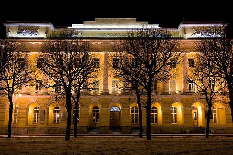 Former barracks of the Pavlovsky Regiment in Saint-Petersburg, Russia on a winter night