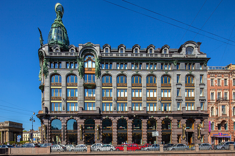 Facade of the Singer Company Building (Dom Knigi) overlooking the Griboedov Canal in Saint-Petersburg, Russia