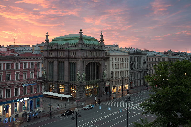 Evening view of the Eliseyev Emporium in Saint-Petersburg, Russia