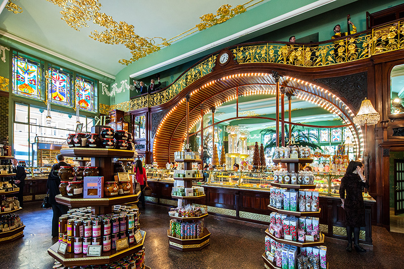 Stained glass and stucco work decorationating the Eliseyev Emporium in Saint-Petersburg, Russia