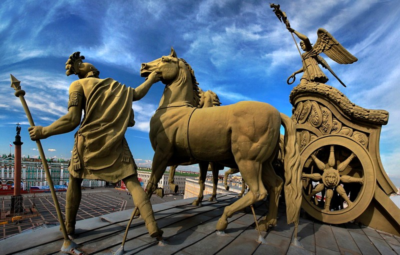 Fragment of the Chariot of Victory on the arch of the General Staff Building in St. Petersburg, Russia