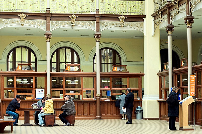 Main operations hall of the Central Post Office in St. Petersburg, Russia