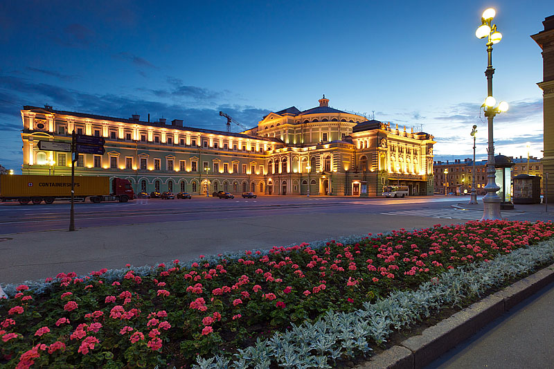 Night view of the Mariinsky Theatre in Saint-Petersburg, Russia