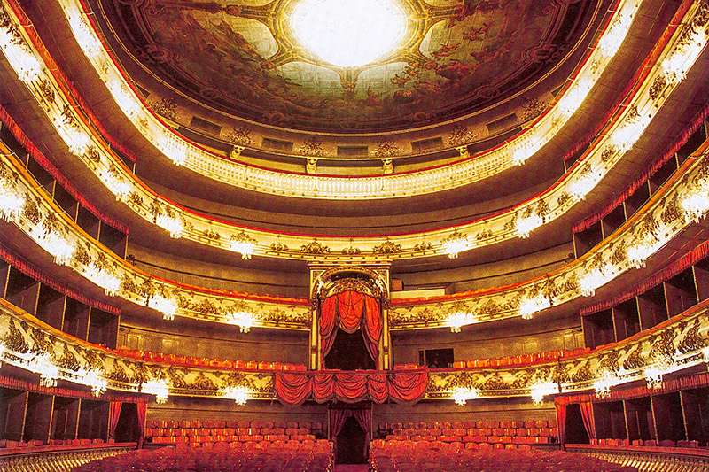 Auditorium of Mikhailovsky Theatre in St Petersburg, Russia