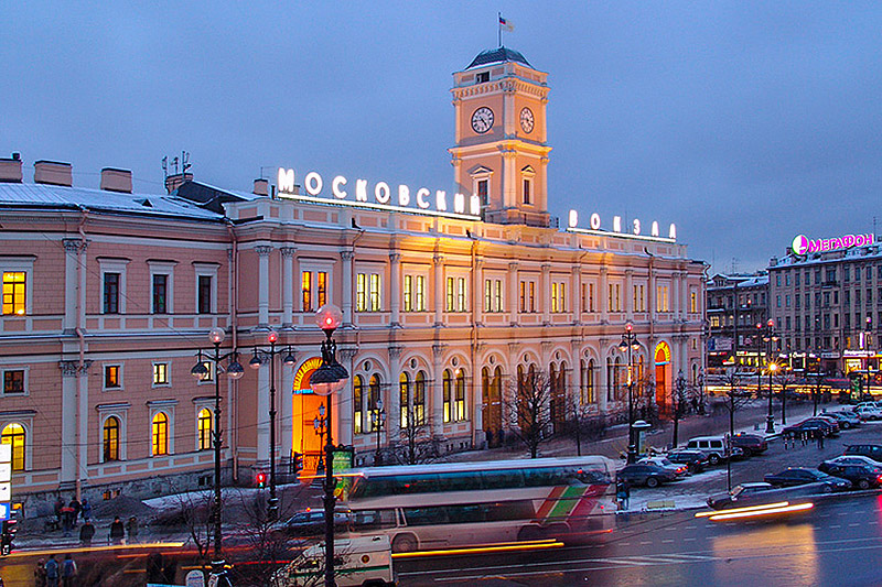 Moscow Railway Station on Ploshchad Vosstaniya in St Petersburg, Russia