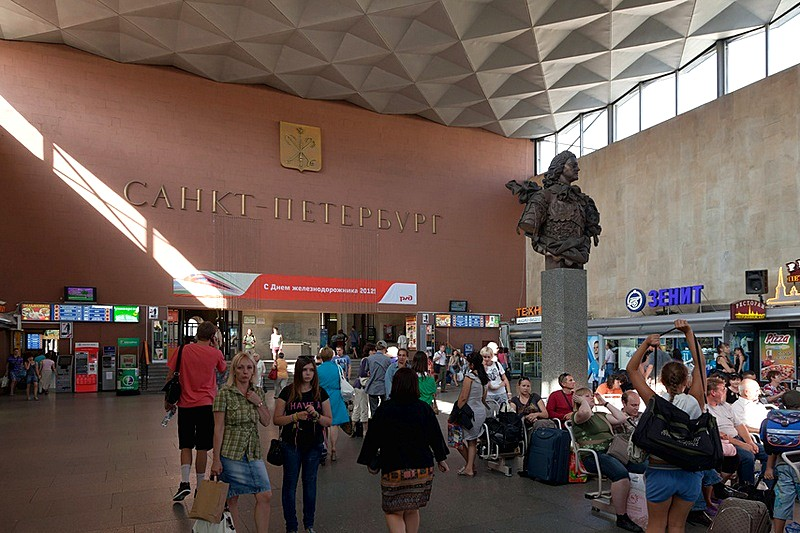 Statue of Peter the Great in the main hall of Moscow Railway Station in St Petersburg, Russia