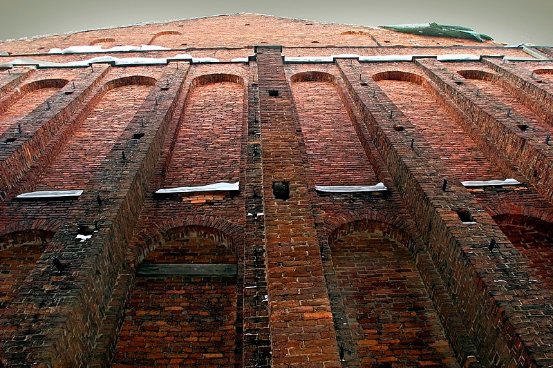 Brick wall of the New Holland complex in St Petersburg, Russia