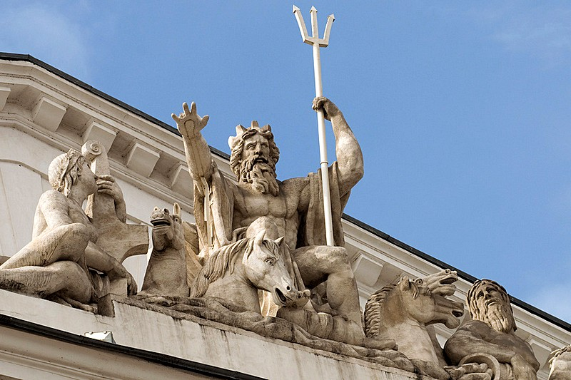 Sculpture of Neptune on the Stock Exchange Building in Saint-Petersburg, Russia