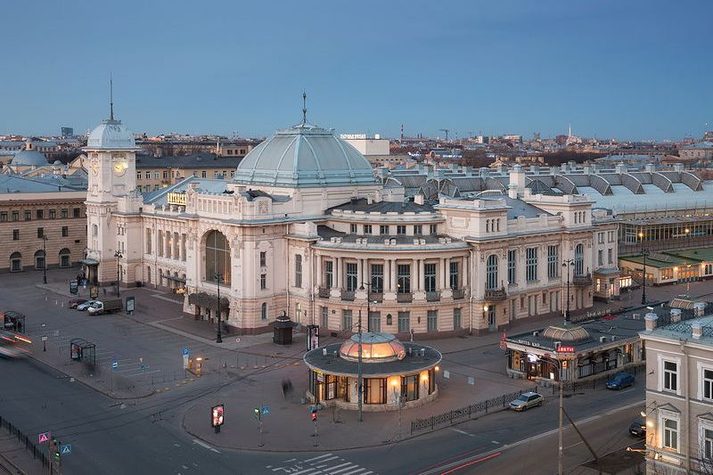 Vitebsk railway station in st. petersburg, russia during the white