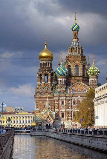 Church of Our Savior on the Spilled Blood and the Griboedov Canal in St Petersburg, Russia