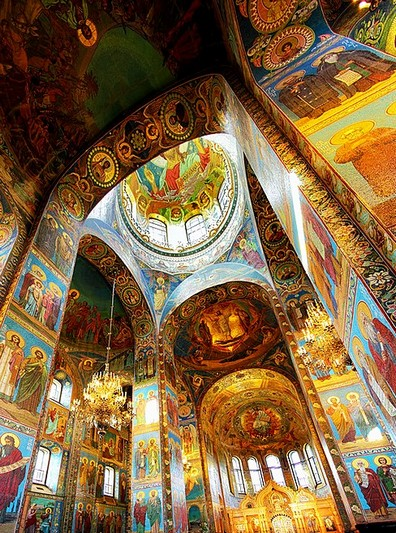 Colorful interiors of the Church of Our Savior on the Spilled Blood in Saint-Petersburg, Russia