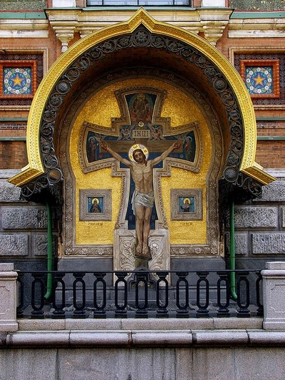 Detail of facade decoration of the Church of Our Savior on the Spilled Blood in Saint-Petersburg, Russia