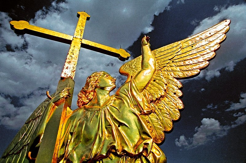 Angel weather-vane on the spire of the Peter and Paul Cathedral in St Petersburg, Russia