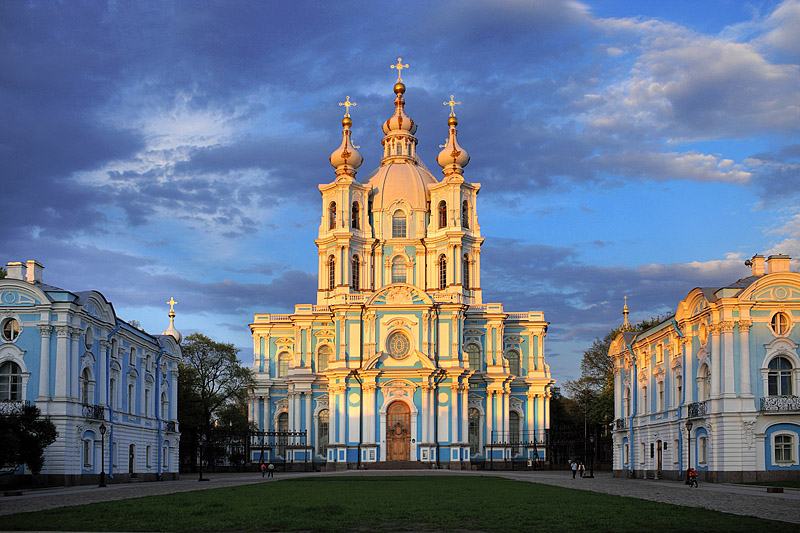 Saint Petersburg Russia  City new picture : Postcard view' of Smolny Cathedral in Saint Petersburg, Russia