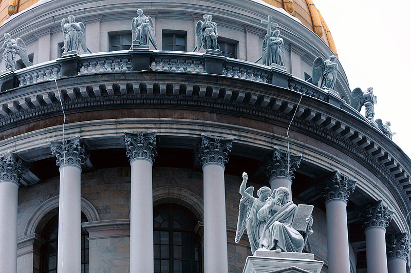 Facade decoration of St. Isaac's Cathedral in St Petersburg, Russia