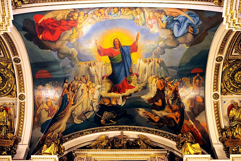 The Last Judgement on the ceiling of St. Isaac's Cathedral in St Petersburg, Russia
