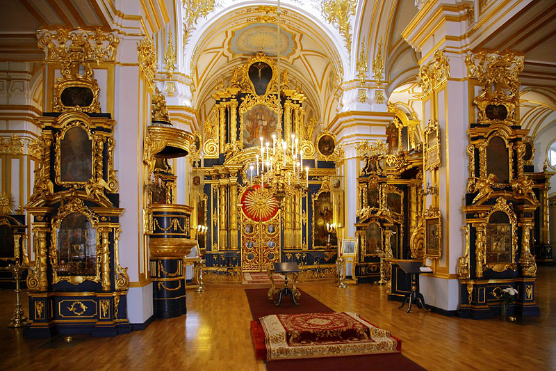 Interiors of St. Nicholas Cathedral in St Petersburg, Russia