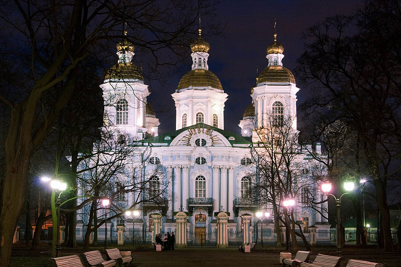 Winter view of St Nicholas Cathedral in Saint-Petersburg, Russia
