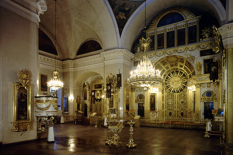 Interior of Transfiguration Cathedral (Preobrazhenskiy Sobor) in Saint-Petersburg, Russia