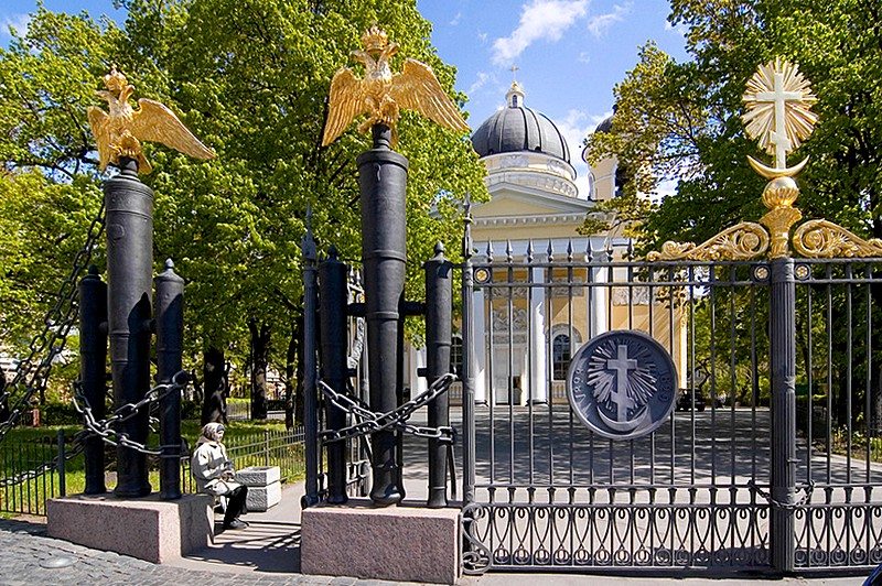 Wrought-iron fence of the cathedral built of trophy Turkish cannons in St Petersburg, Russia
