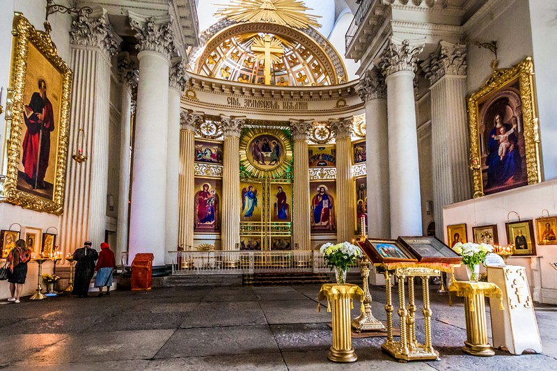 Interiors of the Trinity Cathedral in St Petersburg, Russia