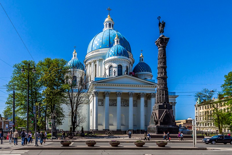 Trinity Cathedral and the Column of Glory on Troitskaya Ploshchad in St Petersburg, Russia