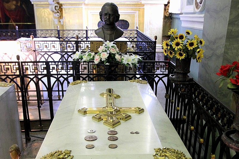 Tomb of Peter the Great, founder of St Petersburg, at the Cathedral of Ss. Peter and Paul in St Petersburg, Russia