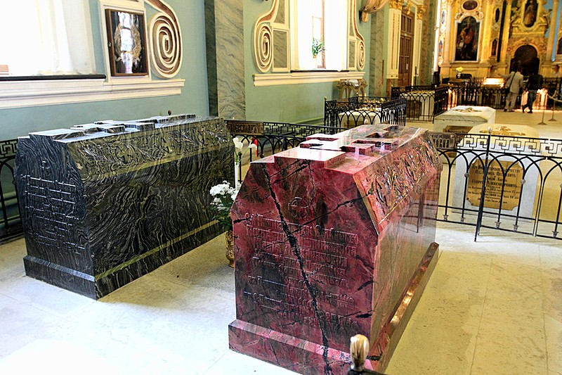 Tombs of Alexander II and his wife made of semi-precious stones at the Peter and Paul Cathedral in Saint-Petersburg, Russia