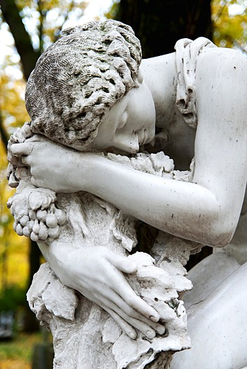 Detail of the tombstone of ballerina Alla Shelest in St Petersburg, Russia