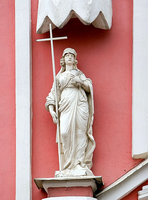 Detail of facade decorations of Chesme Church in St Petersburg, Russia