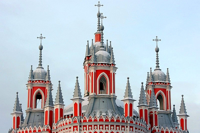 Neogothic domes of Chesme Church in St Petersburg, Russia